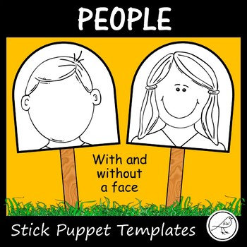 Stick Puppet Templates - people heads - 18 faces and 18 bl