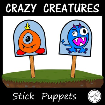 Stick Puppets - CRAZY CREATURES / MONSTERS - 84 in total!