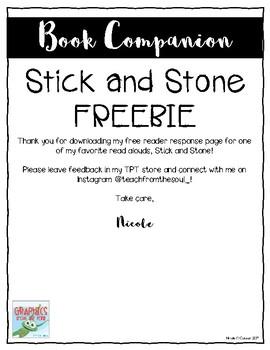 Stick and Stone Reader Response Freebie
