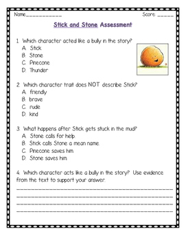 Stick and Stone Reading Comprehension Activities (CCSS) Bullying Unit