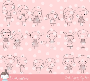 Stick figures clipart, Stick figure digital stamp, Children stick figures, Kids