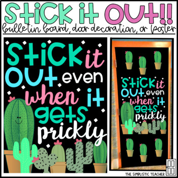 Stick it Out Growth Mindset Cactus Bulletin Board, Door Decor, or Poster