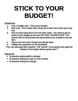 Stick to Your Budget Center Activty