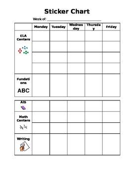 Sticker Chart- Editable
