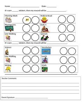 Sticker Chart Behavior Plan