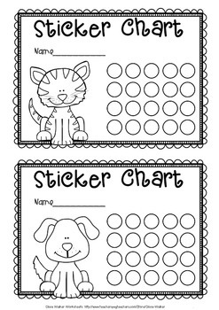Sticker charts black and white animal themed monster themed