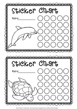 Sticker Charts - Black and White - Animal Themed, Monster Themed, Insect Themed.