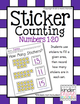 Sticker Counting Pages for Numbers 1-20