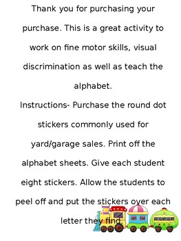 Sticker Dot Alphabet
