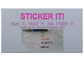 Sticker It Pre-Primer Sight Word Activity