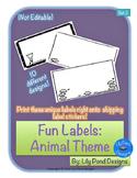Sticker Label Templates - Fun Labels (Set 2): Animal Theme