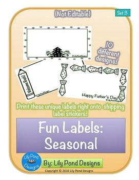 Sticker Label Templates - Fun Labels (Set 3): Seasonal