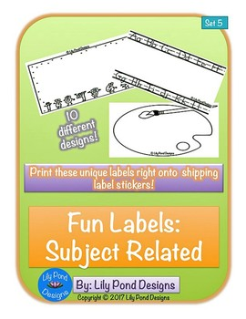 Sticker Label Templates - Fun Labels (Set 5): Subjects