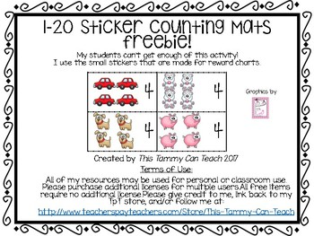 Sticker Mats Counting FREEBIE