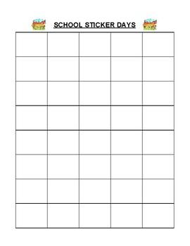 Sticker Reward Chart For Good School Days!