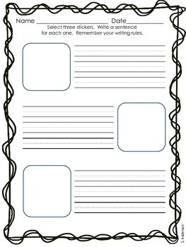 Sticker Stories - Writing Worksheets Freebie