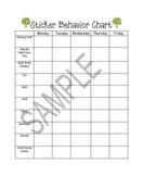 Sticker behavior chart-behavior intervention