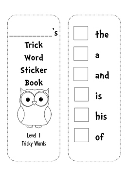 Sticker book for level 1 tricky words