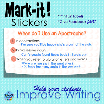 Sticker for Writing Assessment!  Apostrophe
