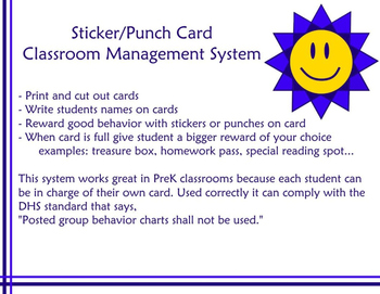 Sticker or Punch Card Classroom Management System