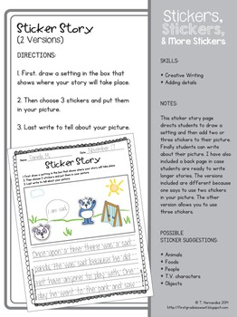 Stickers, Stickers, & More Stickers: Writing Packet