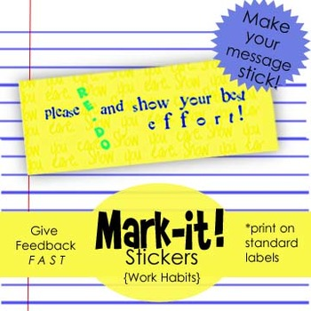 """Show more effort"" -Printable Sticker for Work Habits, Print on Labels"