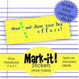 """""""Show more effort"""" -Printable Sticker for Work Habits, Print on Labels"""