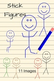 Stickman Clipart, Simple Stick People, 8 different colors,