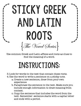 Sticky Greek and Latin Roots