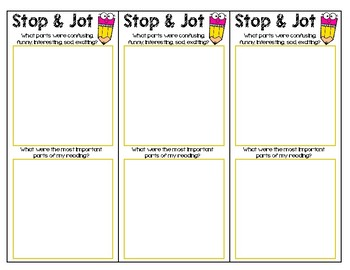 Sticky Note Bookmarks: Reading Comprehension