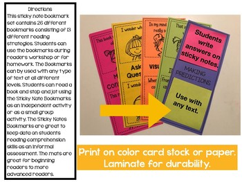 Sticky Note Bookmarks with Reading Strategies