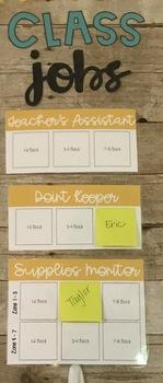 Sticky Note Class Job Charts - Editable - Secondary
