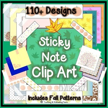 Sticky Note Clip Art Bundle - 110+ Designs - Blank for Adding Text
