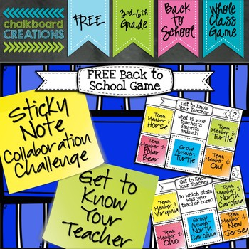 Sticky Note Collaboration Game: Back to School (Get to Kno