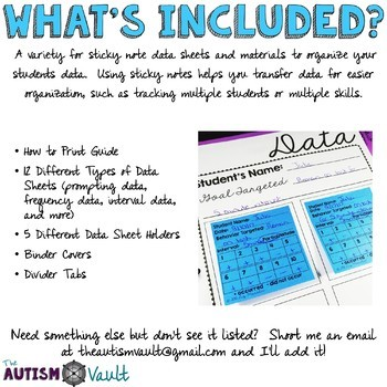 Editable Sticky Note Data Sheets for Special Education and Autism