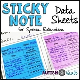 Sticky Note Editable Data Sheets for Special Education and Autism