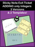 Sticky Note Exit Ticket Adding Negative Numbers Integers w/ template mini lesson