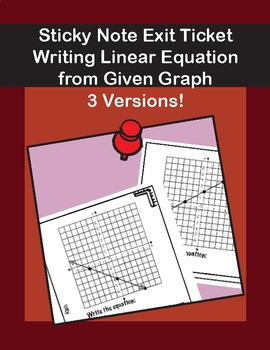 Sticky Note Exit Ticket Writing Linear equation for graph