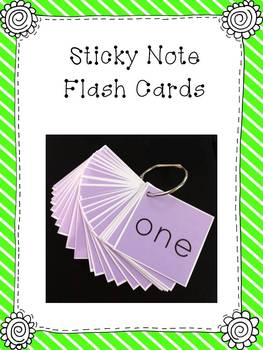 Sticky Note Flash Cards - Editable