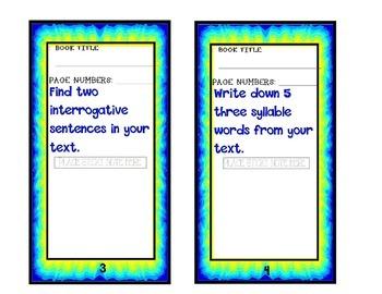 Grammar task cards - bookmarks - Sticky Note Grammar