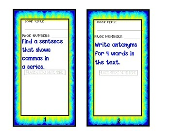 Grammar task cards - bookmarks - Sticky Note Grammar