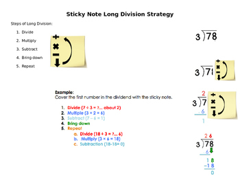 Sticky Note Long Division Strategy
