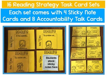 Sticky Note Task Cards with 16 Reading Strategies with Accountability Talk Cards
