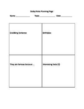 Sticky Note Planning Page