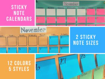 Sticky Note Post-it Calendars
