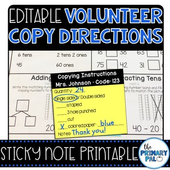 Sticky Note Printable Directions for Volunteers