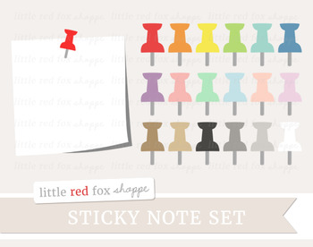 Sticky Note & Pushpin Clipart; Office Supplies