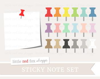 Sticky Note & Pushpin Clipart