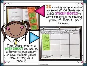 Sticky Note Reading Comprehension Bookmarks | Data Sheets Included | Set 1