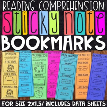 Sticky Note Reading Comprehension Bookmarks | Data Sheets Included | Set 2